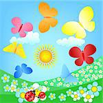 butterflies roundelay over spring flowering meadow Stock Photo - Royalty-Free, Artist: DLeonis                       , Code: 400-05301869