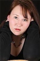 Headshot of beautiful brunette female on a black background Stock Photo - Royalty-Freenull, Code: 400-05309783