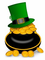 Saint Patricks Day Leprechaun Hat on Pot of Gold Coins Illustration Stock Photo - Royalty-Freenull, Code: 400-05312707