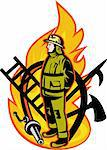 illustration of a Firefighter with axe ladder, spear, hook and fire hose.