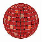 ceramic tiles sphere against white background, abstract vector art illustration