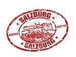 Red grunge rubber stamp with castle shape and the name of Salzburg written inside the stamp Stock Photo - Royalty-Free, Artist: roxanabalint                  , Code: 400-05314187