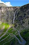 Trollstigen (The Troll Path) is a mountain road in Rauma, Norway. It is a popular tourist attraction due to its steep incline and eleven hairpin bends up a steep mountain side. Stock Photo - Royalty-Free, Artist: Kartouchken                   , Code: 400-05314676