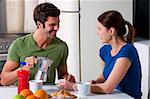 couple having breakfast in the kitchen Stock Photo - Royalty-Free, Artist: ambro                         , Code: 400-05314843