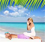 Caribbean beach massage meditation shiatsu woman in paradise