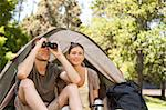 Couple camping in the park Stock Photo - Royalty-Free, Artist: 4774344sean                   , Code: 400-05319548
