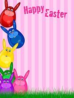Happy Easter Bunny with Striped Background and Grass Illustration Stock Photo - Royalty-Freenull,