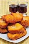 a pile of torrijas, typical Lent spanish sweet, and moscatel Stock Photo - Royalty-Free, Artist: nito                          , Code: 400-05321319