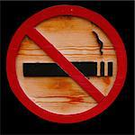 Wooden No Smoking Sign on isolated black background Stock Photo - Royalty-Free, Artist: Kartouchken                   , Code: 400-05322473