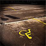 Parking symbol for persons with physical disability. Sign is in yellow color. Stock Photo - Royalty-Free, Artist: ajfilgud                      , Code: 400-05322748