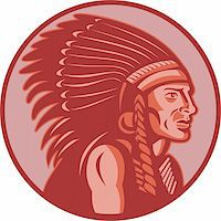 vector illustration of a native american indian chief side view done in retro style Stock Photo - Royalty-Freenull, Code: 400-05324517
