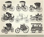 Vector set of old cars Stock Photo - Royalty-Free, Artist: marinakim                     , Code: 400-05325848