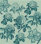Classical wall-paper with a flower pattern. Fragment Stock Photo - Royalty-Free, Artist: marinakim                     , Code: 400-05326024