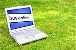 buy online or ecommerce concept with laptop in green grass Stock Photo - Royalty-Free, Artist: gunnar3000                    , Code: 400-05327213
