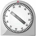 Glossy illustration of an analog 60-minute timer Stock Photo - Royalty-Free, Artist: bruno1998                     , Code: 400-05328118