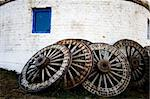 Wooden wheels outside the yurt in Inner Mongolia. Stock Photo - Royalty-Free, Artist: kiankhoon                     , Code: 400-05328130