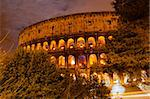 Lights of Colosseum at Night, Rome, Italy