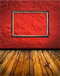 vintage red terracotta interior with empty classic frame hanging on the wall concept dissonance Stock Photo - Royalty-Free, Artist: mrVitkin                      , Code: 400-05330238