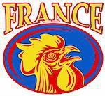 illustration of a french sport sporting mascot rooster cockerel cock set inside rugby ball shape with words