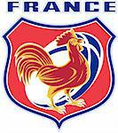 illustration of a french sport sporting mascot rooster cockerel cock set inside shield and rugby ball shape with words