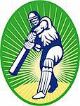 illustration of a cricket batsman silhouette batting front view Stock Photo - Royalty-Free, Artist: patrimonio                    , Code: 400-05331515