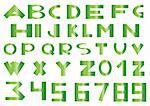 Vector illustration of green alphabet and numbers on a white background