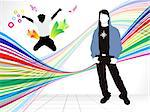 abstract colorful background with energetic boy vector illustration Stock Photo - Royalty-Free, Artist: pathakdesigner                , Code: 400-05332274