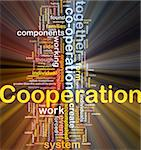 Background concept wordcloud illustration of cooperation glowing light