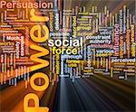 Background concept wordcloud illustration of power glowing light
