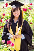 Stock image of happy female graduate, outdoor setting, Stock Photo - Royalty-Freenull, Code: 400-05333211