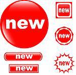 NEW button set of different form web glossy icon Stock Photo - Royalty-Free, Artist: fotoscool                     , Code: 400-05333730