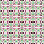 Retro style flower pattern (seamless vector) in the colors green, pink, red, brown Stock Photo - Royalty-Free, Artist: Virtuelle                     , Code: 400-05335245
