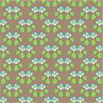 Handpainted seamless vector pattern with blue flowers and green leaves on a brown background