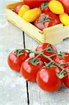 several varieties of tomatoes in a box on the table Stock Photo - Royalty-Free, Artist: Dream79                       , Code: 400-05335486