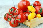 several varieties of tomatoes in a box on the table Stock Photo - Royalty-Free, Artist: Dream79                       , Code: 400-05335530