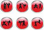 buttons with karate illustration collection - vector