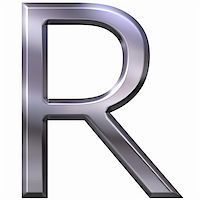 fancy letters - 3d silver letter R isolated in white Stock Photo - Royalty-Freenull, Code: 400-05337861