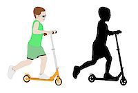 sports scooters - illustration of kid riding micro scooter - vector Stock Photo - Royalty-Freenull, Code: 400-05339418