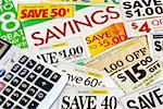 Calculate how much we save by clipping coupons Stock Photo - Royalty-Free, Artist: johnkwan                      , Code: 400-05339653
