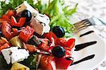 Greek Mediterranean salad with feta cheese, olives and peppers    Stock Photo - Royalty-Free, Artist: Preto_perola                  , Code: 400-05339927
