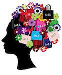 Vector illustration of a female head silhouette with shopping icons Stock Photo - Royalty-Free, Artist: lilac                         , Code: 400-05341250