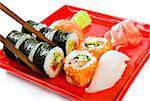 sushi with rice, raw fish and seafood Stock Photo - Royalty-Free, Artist: GekaSkr                       , Code: 400-05341376
