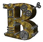 steampunk letter b on white background - 3d illustration Stock Photo - Royalty-Free, Artist: drizzd                        , Code: 400-05342784