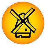 Black Amsterdam mill icon in orange round