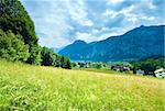 Beautiful summer Alpine  lake Hallstatter See view (Austria)