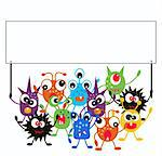 a group of monsters holding a placard Stock Photo - Royalty-Free, Artist: chip                          , Code: 400-05345345