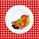 White Plate With Tomatoes Olives And Fresh Herbs, Vector Illustration Stock Photo - Royalty-Free, Artist: adamson                       , Code: 400-05347328
