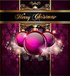 Elegant Merry Christmas and Happy New Year background with vintage seamless wallpaper and glossy baubles. Stock Photo - Royalty-Free, Artist: DavidArts                     , Code: 400-05347905
