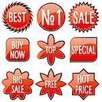 Set of red shiny sale buttons, vector illustration Stock Photo - Royalty-Free, Artist: MarketOlya                    , Code: 400-05348212