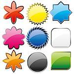 Set of shiny colorful glass buttons, vector illustration Stock Photo - Royalty-Free, Artist: MarketOlya                    , Code: 400-05348213